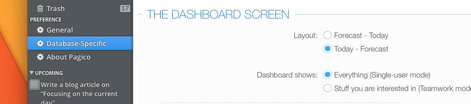 Dashboard Layout Option