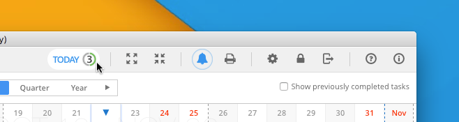 The Today View Button in Toolbar