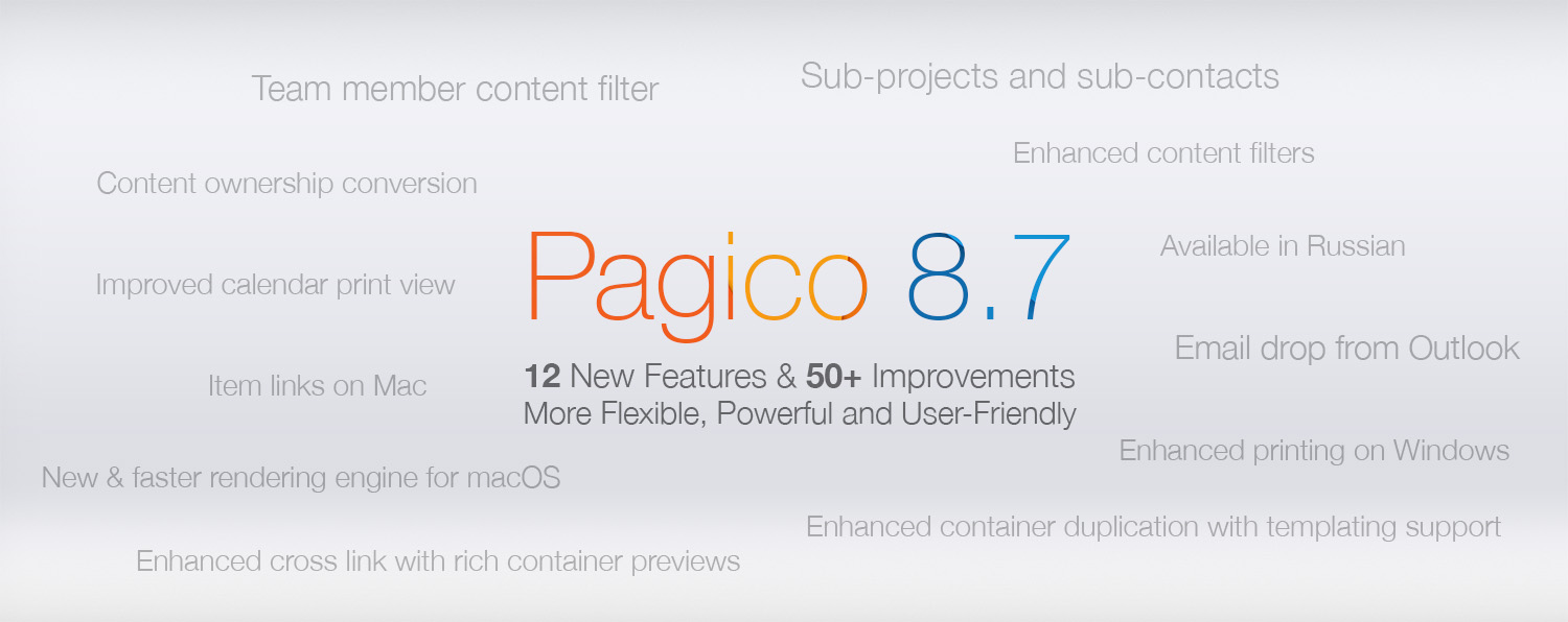 Pagico 8.7: 12 new features & 50+ improvements