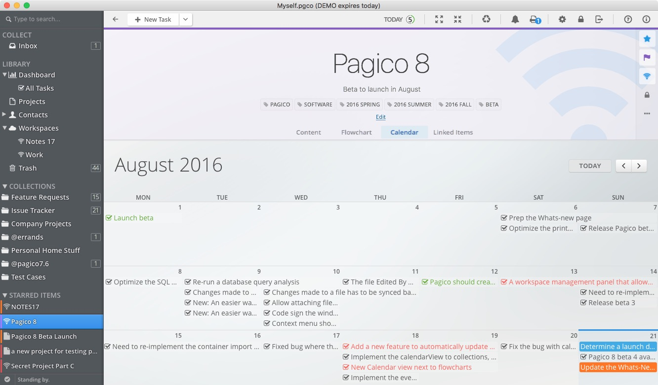 The new calendar views in Pagico 8
